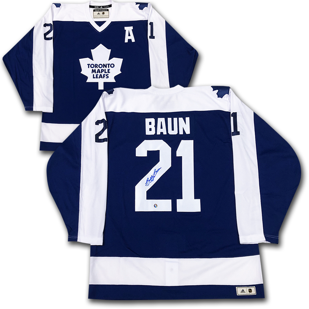 Bobby Baun Autographed Toronto Maple Leafs adidas Team Classics Authentic Vintage Jersey
