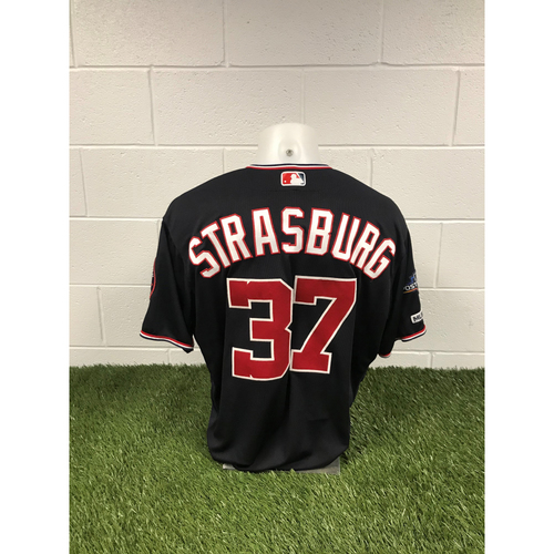 Photo of Game-Used Stephen Strasburg 2019 Navy Script Jersey with Postseason Patch