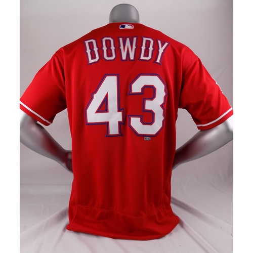 Photo of Final Season Game-Used Red Jersey - Kyle Dowdy - 3/30/19