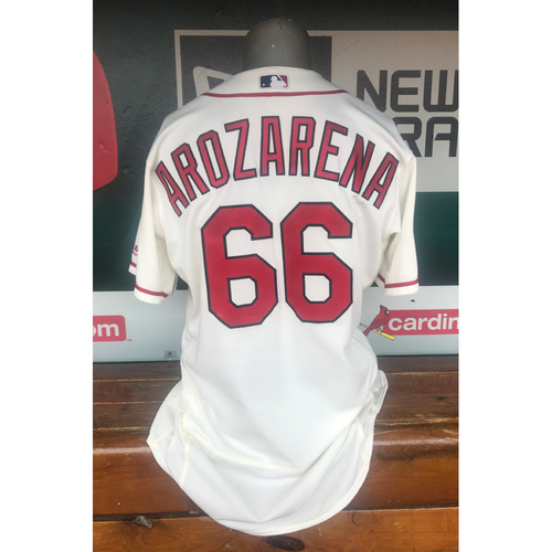 Photo of Cardinals Authentics: Randy Arozarena Game Worn Saturday Ivory Postseason Jersey