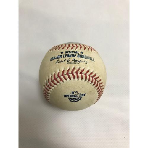 Photo of Game-Used Baseball, 7/30/20 Los Angeles Dodgers at Arizona Diamondbacks: Robbie Ray vs. A.J. Pollock (Double). Baseball features the Opening Day logo.