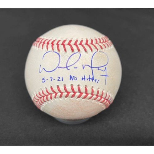 Photo of Wade Miley No-Hitter - *Autographed Game-Used Baseball* - Top 9 - Emmanuel Clase to Nick Castellanos (Foul - 99.2 MPH Fastball) - Inscribed as 5-7-21 No Hitter