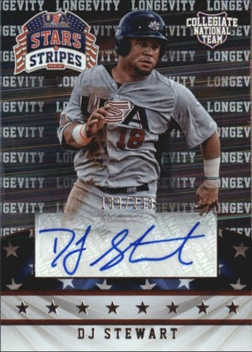 Photo of 2015 USA Baseball Stars and Stripes Longevity Signatures #34 DJ Stewart/299