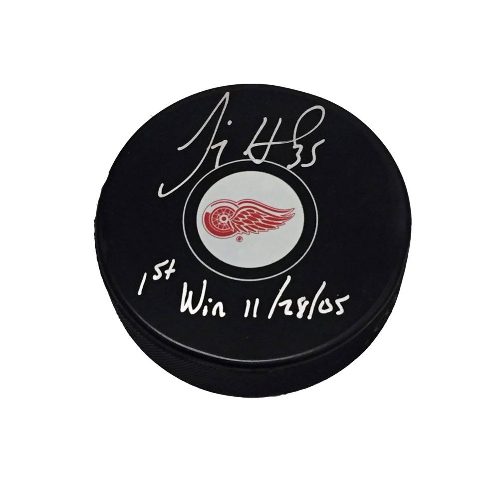 JIMMY HOWARD Signed & Inscribed Detroit Red Wings Puck with First NHL Win Inscription -