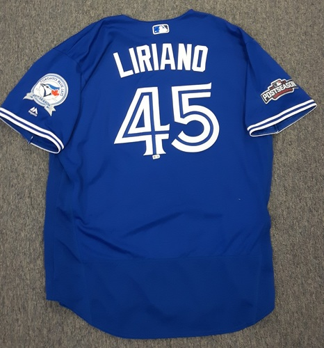 Photo of Authenticated Game Used 2016 Postseason Jersey - #45 Francisco Liriano(ALCS Games 4 and 5). Size 52