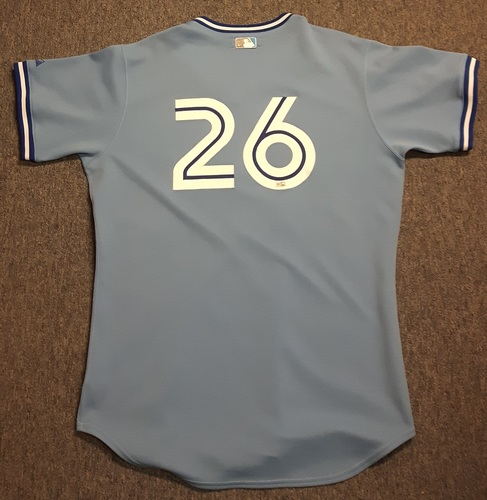 Photo of Authenticated Game Used Jersey - #26 Adam Lind (April 17, 2009). Lind went 1-for-3 with 1 Walk. Size 48