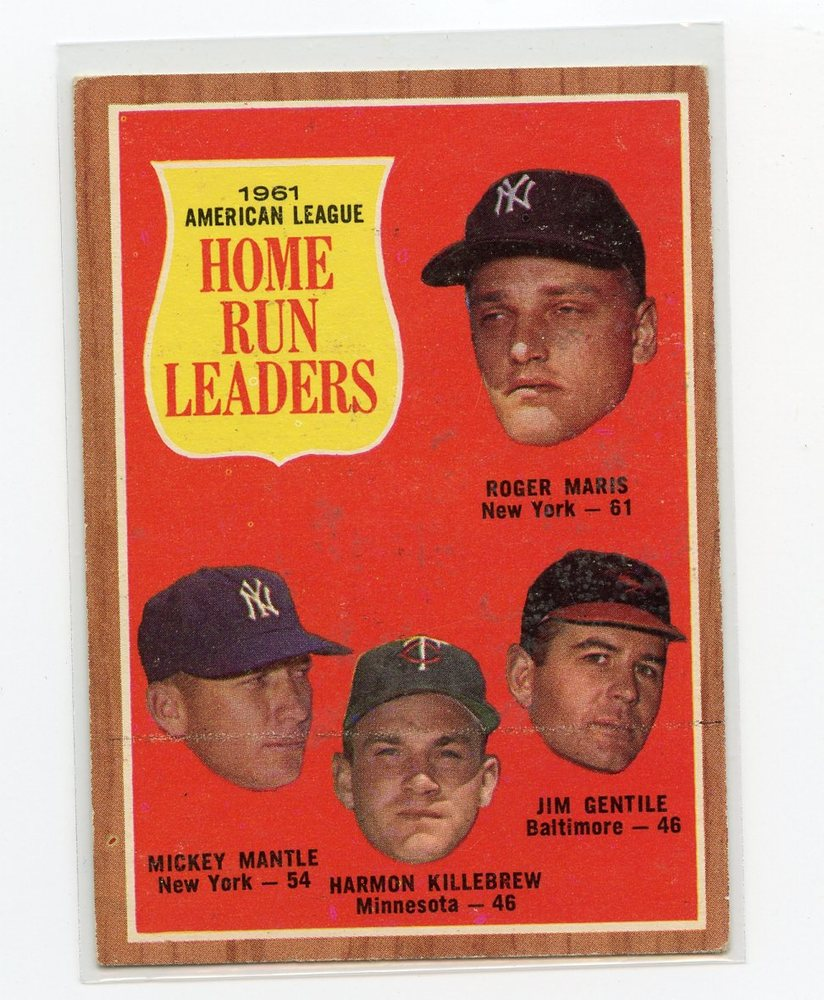 1962 Topps #53 AL Home Run Leaders/Roger Maris/Mickey Mantle/Jim Gentile/Harmon Killebrew