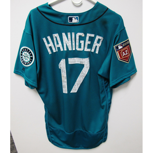Photo of Seattle Mariners Mitch Haniger Team Issued 2018 Spring Training Green Jersey