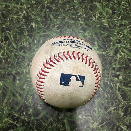 Photo of Game-Used Baseball CHC@MIL 04/07/18 - Yu Darvish - Jett Bandy: Strikeout