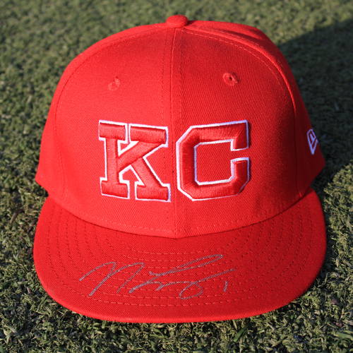 Autographed/Game-Used Monarchs Cap: Nicky Lopez #1 (STL @ KC 9/22/20)