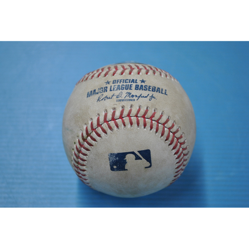 Photo of Game-Used Baseball - CIN at PIT - 9/4/2020 - Pitcher - Tyler Bashlor, Batter - Mike Moustakas, Top 7, Double