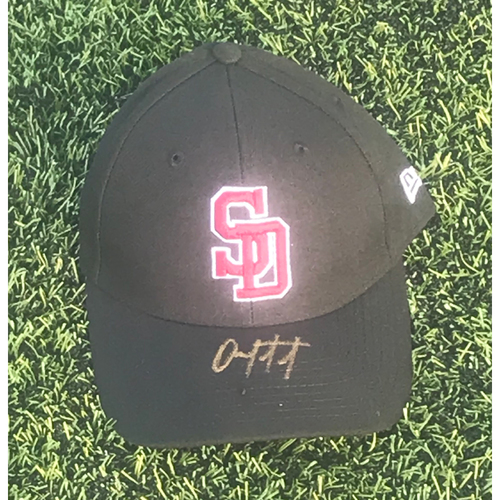 Photo of Omar Lopez Autographed and Game-Used Stoneman Douglas Eagles Cap
