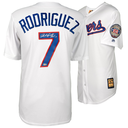 Photo of Ivan Rodriguez Texas Rangers Autographed Majestic White Replica Jersey with HOF 2017 Inscription