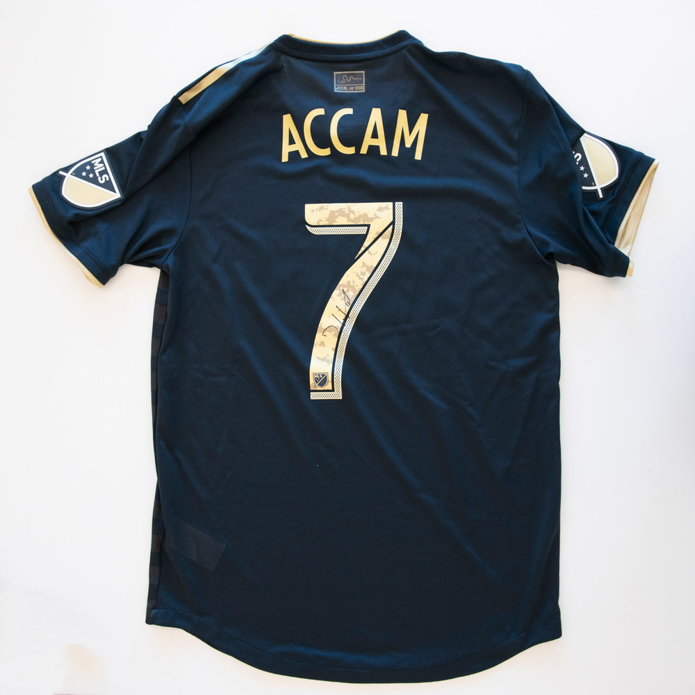 David Accam Philadelphia Union Game Worn, Signed 2018 Military Appreciation Jersey