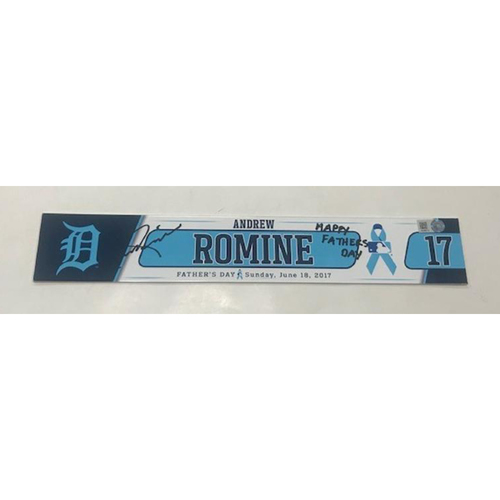 Photo of Autographed Game-Used Father's Day Locker Name Plate: Andrew Romine