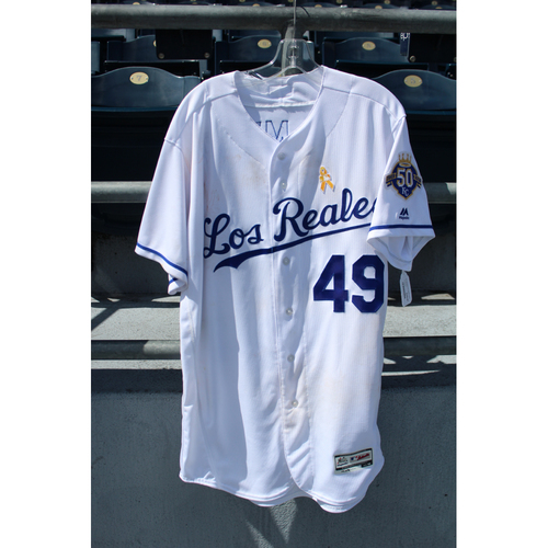 Photo of Game-Used Los Reales Jersey: Heath Fillmyer (Size 46 - BAL @ KC - 9/1/18)