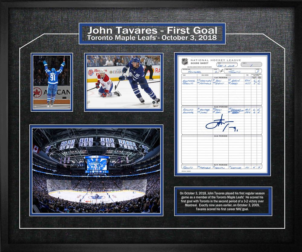 John Tavares Signed Scoresheet Toronto Maple Leafs First Game Collage