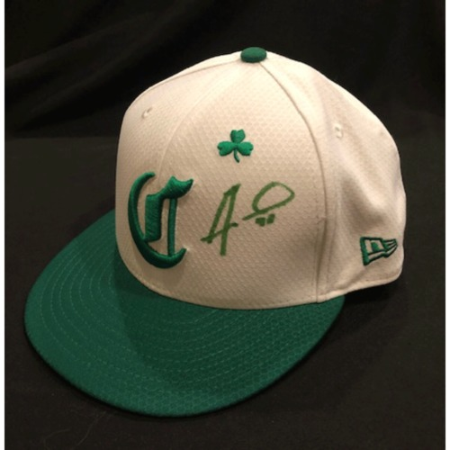 Photo of Alex Wood -- Autographed & Game-Used Cap -- 2019 St. Patrick's Day