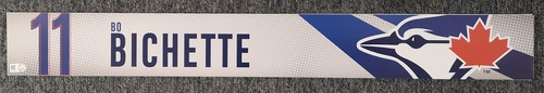 Photo of Authenticated Game Used Locker Name Plate: #11 Bo Bichette Vladimir Guerrero Jr. (Sept 11, 19 vs BOS: 1-for-4 with 1 Run)