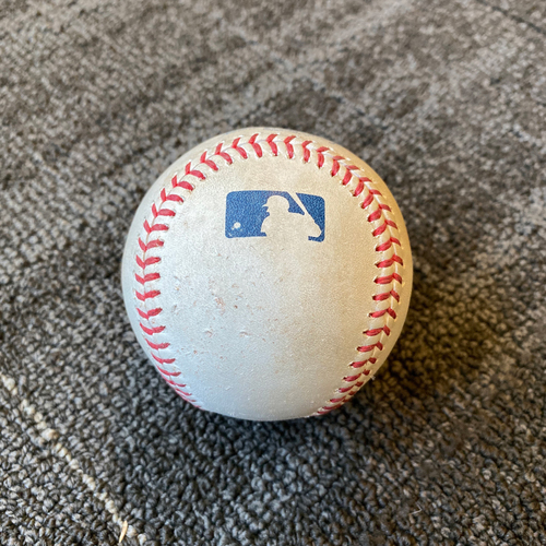 Photo of 2019 Game Used Baseball used on 9/12 vs. Pittsburgh Pirates - T-5: Jeff Samardzija to Joe Musgrove - Triple to RF (First Career Triple)