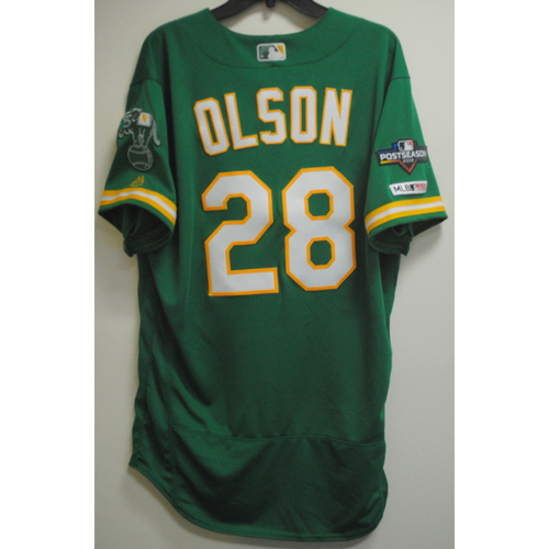 Photo of Matt Olson Game-Used Kelly Green AL Wild Card Game Jersey