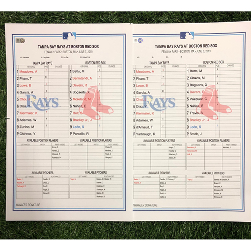 Photo of Replica LineUp Cards: June 7-9, 2019 at BOS