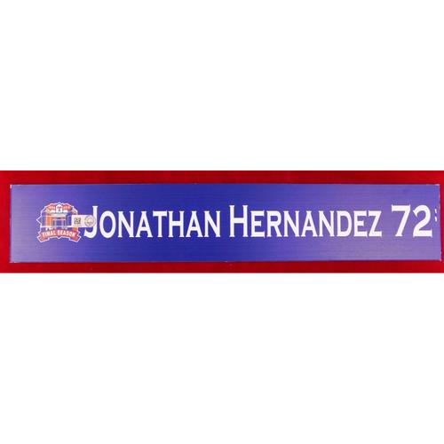 Photo of Final Season Game-Used Locker Tag - Jonathan Hernandez - 9/13/19 vs OAK