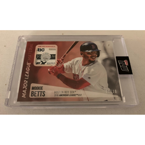 Photo of Mookie Betts Topps Now Game Used Jersey Card #1/10
