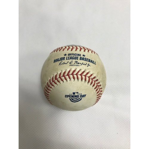 Photo of Game-Used Baseball, 7/30/20 Los Angeles Dodgers at Arizona Diamondbacks: Robbie Ray vs. Justin Turner (Walk) and Cody Bellinger (Blocked Swinging Strike). Baseball features the Opening Day logo.