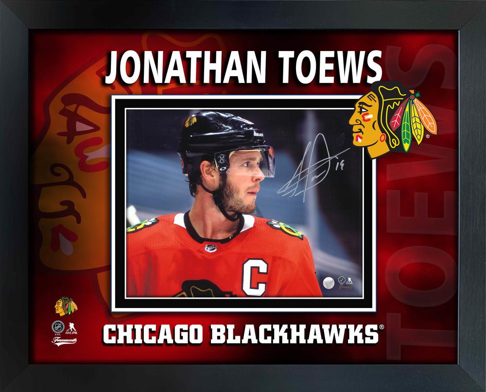 Jonathan Toews Chicago Blackhawks Signed PhotoGlass Framed 8x10 Red Side-View Photo