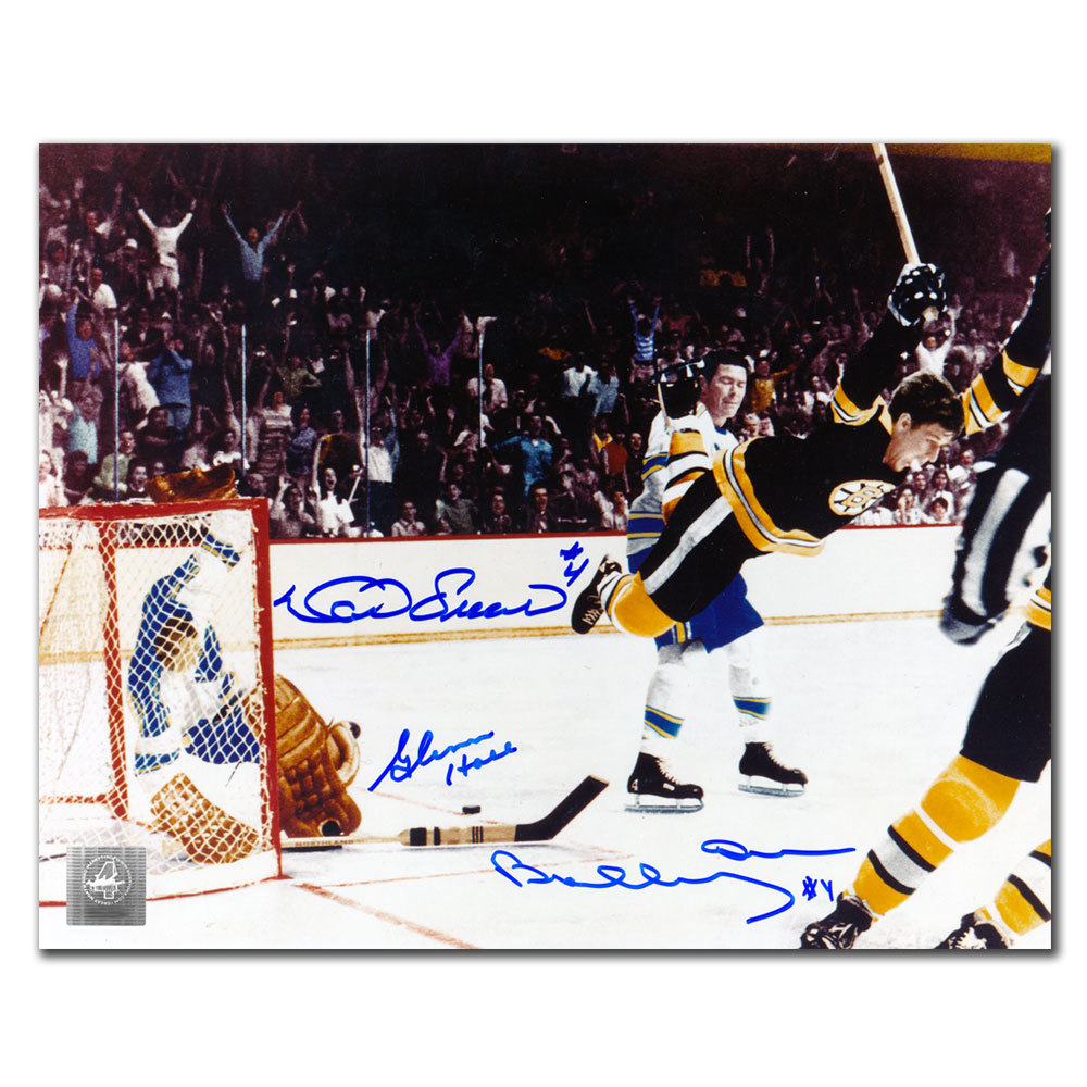 Bobby Orr, Glenn Hall & Noel Picard THE GOAL COLORIZED Autographed 8x10 GNR