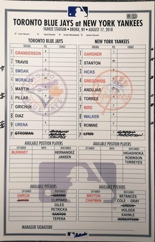Photo of Authenticated Game Used Lineup Card - August 17, 2018 vs New York Yankees: Giancarlo Stanton hit a Home Run in a Rain Shortened Game.