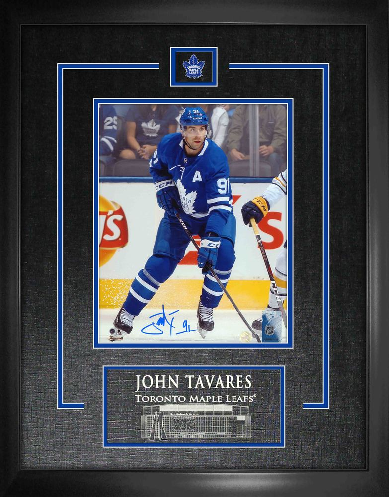 John Tavares Signed 8x10 Etched Mat Maple Leafs Action vs Buffalo