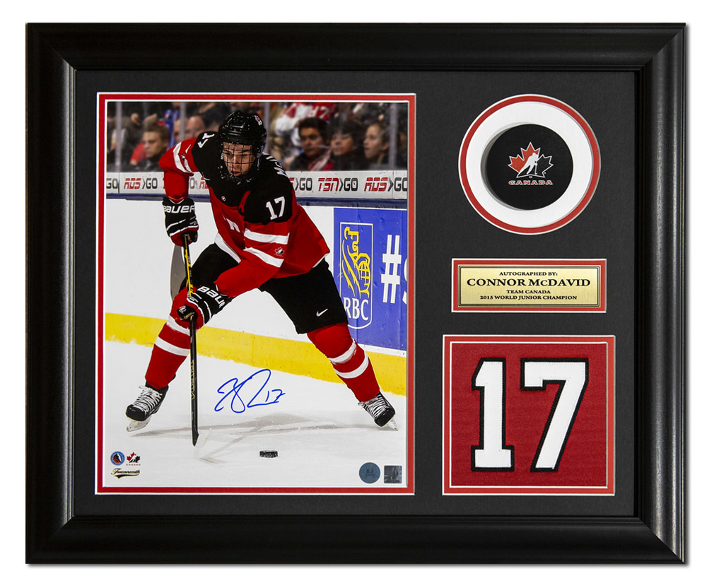 Connor McDavid Team Canada Signed 2015 World Junior Jersey Number 19x23 Frame