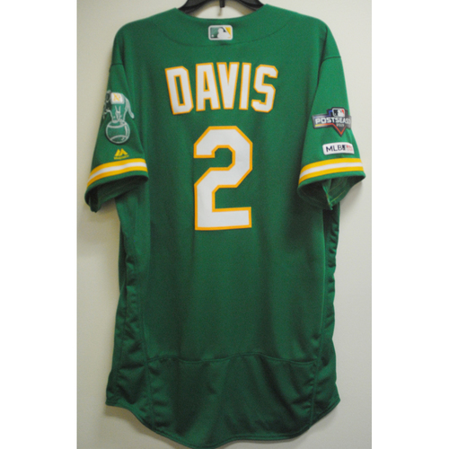 Photo of Khris Davis Game-Used Kelly Green AL Wild Card Game Jersey