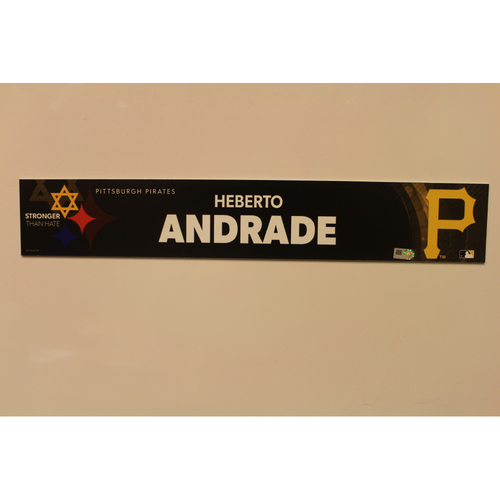 2019 Game Used Locker Nameplate - Heberto Andrade