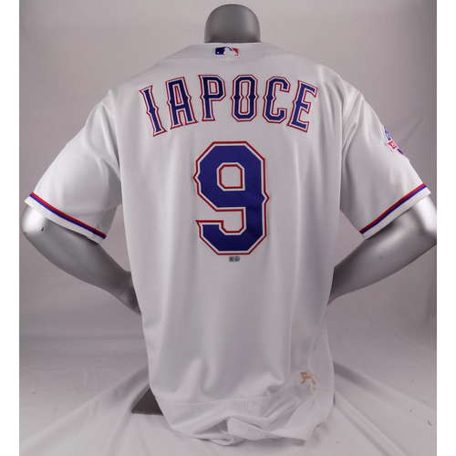 Photo of Game-Used White Jersey - Anthony Iapoce - 7/30/17 - Adrian Beltre Hit 3,000 Hit