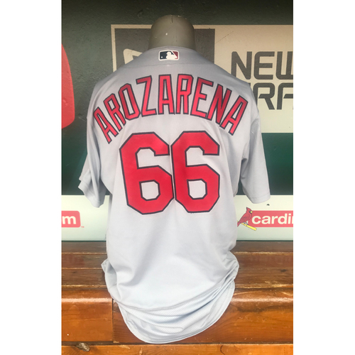 Photo of Cardinals Authentics: Randy Arozarena Game Worn Road Grey Postseason Jersey