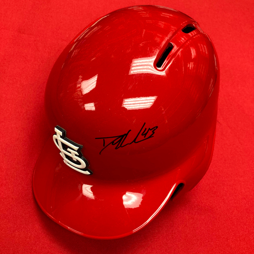 Photo of Dakota Hudson Autographed Game-Used Red 2019 Batting Helmet (5/12/19, STL v PIT) (8/19/19, STL v MIL)