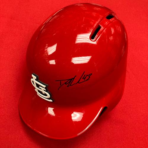 Photo of Dakota Hudson Autographed Game-Used Red 2019 Batting Helmet (5/12/19, STL v PIT) (8/19/19, STL v MIL)