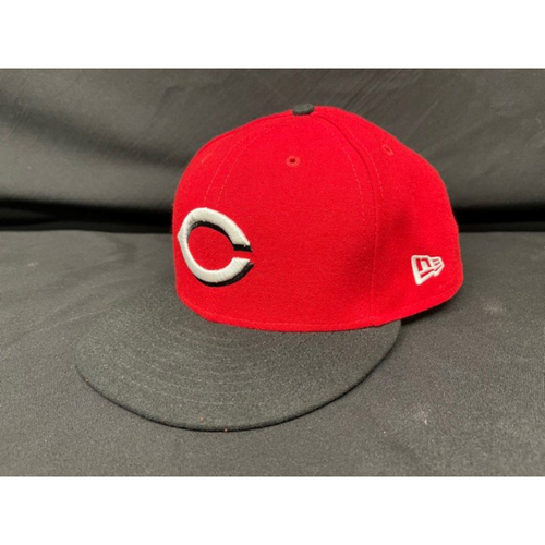 Photo of Tyler Stephenson -- Game-Used Cap -- Worn During Wade Miley No-Hitter on May 7, 2021 - Reds @ Indians -- Size 7 1/2