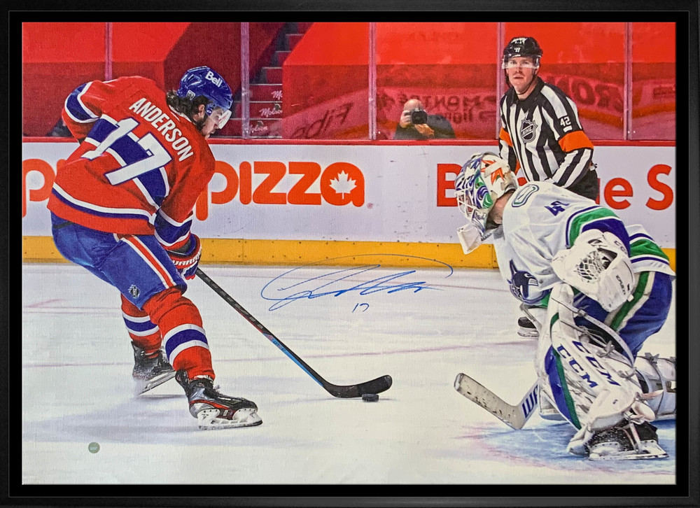 Josh Anderson Montreal Canadiens Signed Framed 20x29 Breakaway vs. Canucks Canvas