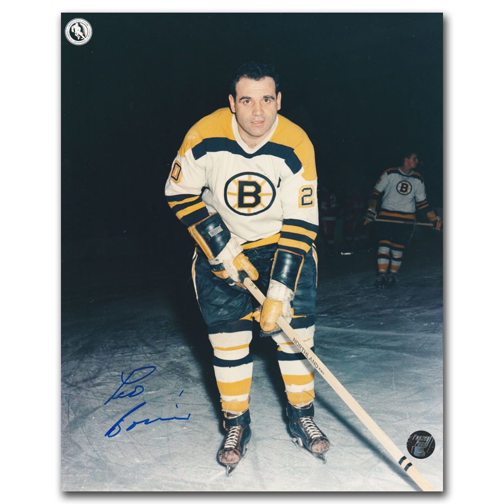 Leo Boivin Autographed Boston Bruins 8X10 Photo - Tough HOF signature