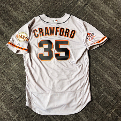 Photo of San Francisco Giants - Mother's Day Game-Used Jersey - #35 Brandon Crawford - 3-4, 2B, RBI, R (size 48)