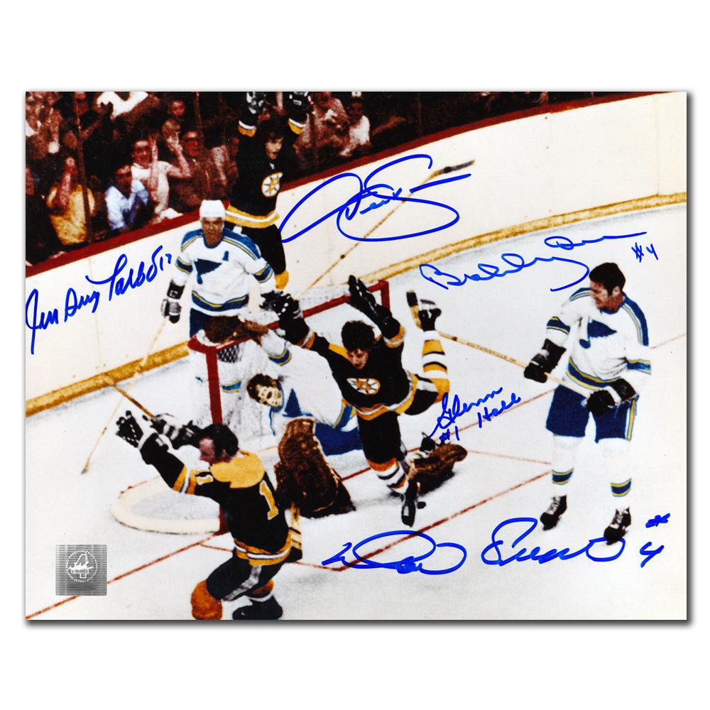 Bobby Orr, Glenn Hall, Derek Sanderson, Jean Guy Talbot & Noel Picard THE GOAL OVERHEAD Autographed 8x10 GNR