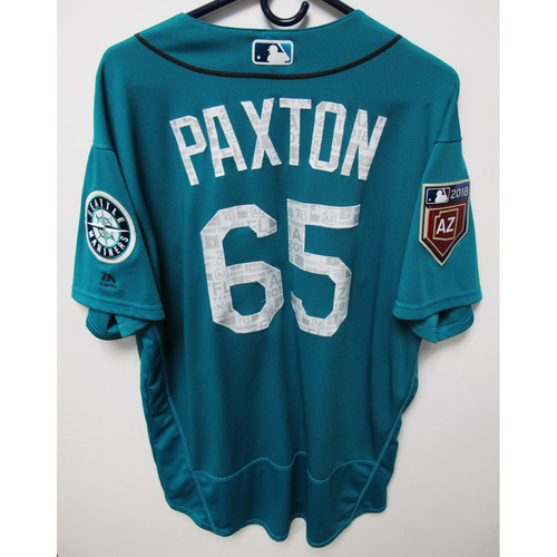 Photo of Seattle Mariners James Paxton Team Issued 2018 Spring Training Green Jersey