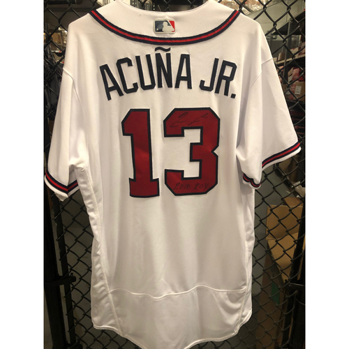 Photo of Ronald Acuna Jr. 2018 Game Used and Autographed Jersey, Worn for Homerun 8/13/18
