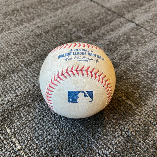 Photo of 2019 Game Used Baseball used on 9/10 vs. Pittsburgh Pirates - T-9: Shaun Anderson to Kevin Kramer - Strike Out Swinging (Shaun Anderson First Career Save)