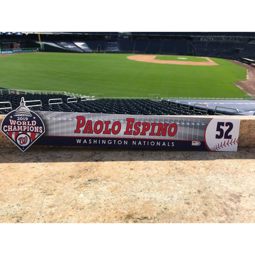 Photo of Paolo Espino Game-Used 2020 Locker Tag