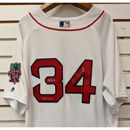 Photo of David Ortiz Autographed #34 Team Issued Final Season Home White Jersey